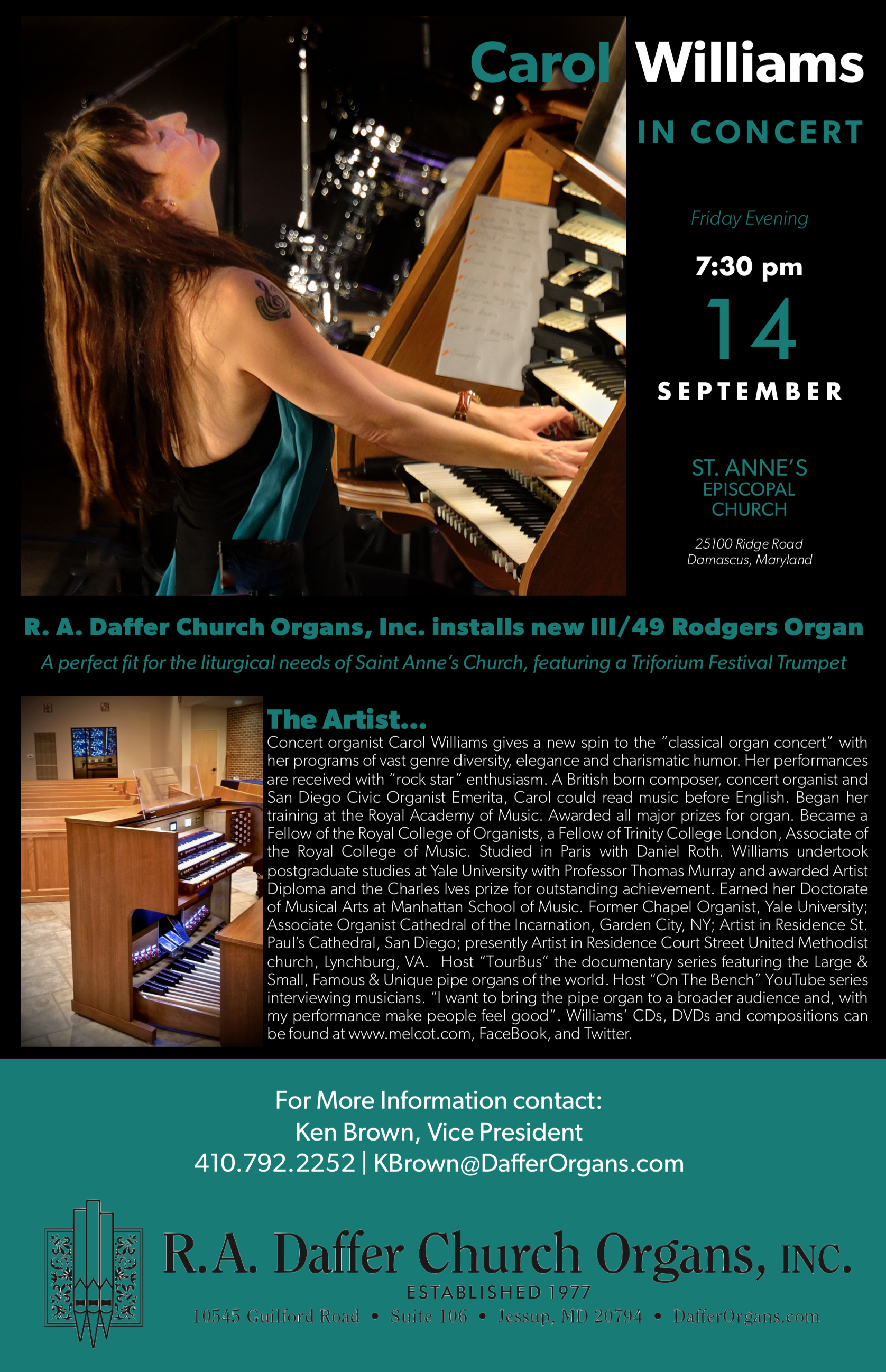 Carol Williams In Concert Ra Daffer Church Organs Perfect Fit Iii September 14 730 Pm 930